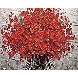 Pintura por números Red Plum Blossom - DIY Pintura al óleo Lienzo Por Números con pintura acrílica para el hogar Salón Decoraciones de la imagen de la oficina (40 x 50 cm/15.75 x 19.69 inch)