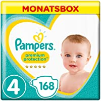 Pampers Premium Protection Windeln, Gr.4 Maxi, 9-14kg, Monatsbox, 1er Pack (1 x 168 Stück)