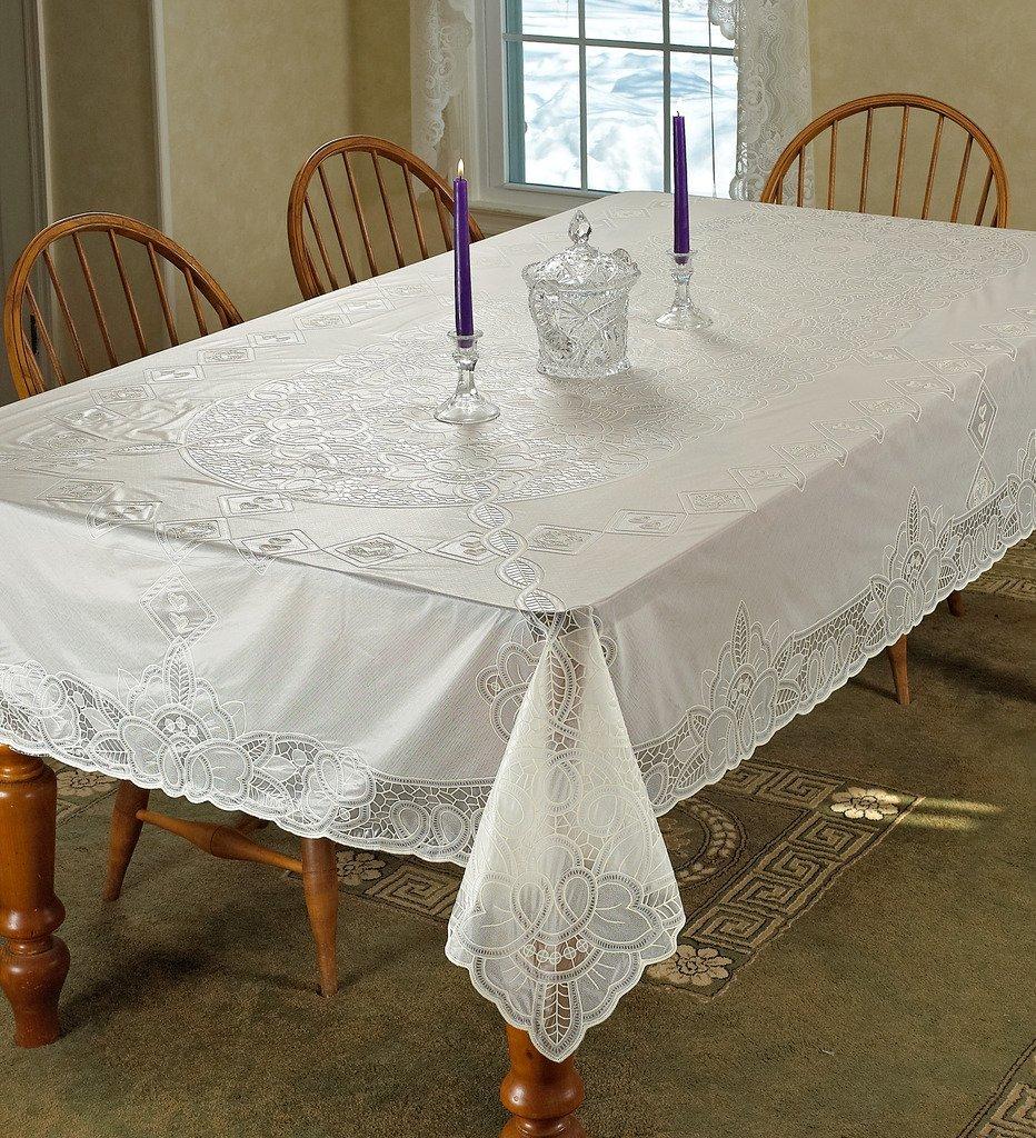 """Violet Linen Vinyl Lace Betenburg Design Oblong/Rectangle Tablecloth, 54"""" x 72"""", Beige"""