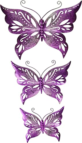 Regal Art Gift 12073 Capri Butterfly Decor S 3-Purple Wall D cor, Purple