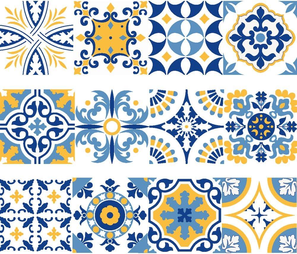 Bande de vinyle d/écoratif autocollant mural amovible pour autocollants avec motif de carrelage carrelage portugais Set de 15 unit/és 3 m/ètres lin/éaires Collection Fado