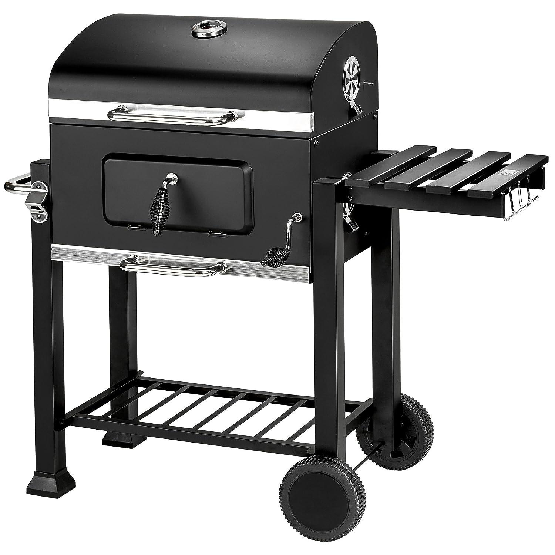TecTake BBQ Barbacoa de carbón vegetal parrilla fumador madera 115x65x107cm...