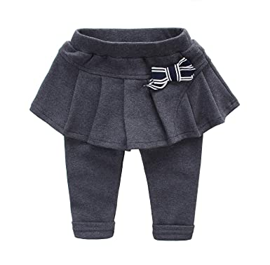 ffc0892bef Baby Girls Kids Leggings With Pleated Skirt Bowknot Mid-Thickness Tutu  Lined Pants Dark Grey