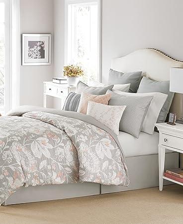 martha stewart bedding shaded garden 10 pc queen comforter set gray pink - Martha Stewart Bedding