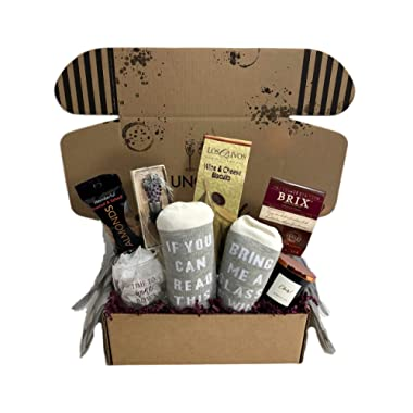 Wine Lovers Perfect Gift Basket Box with Bring Me Some Wine Socks and more