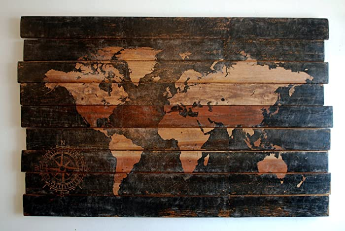 Amazon extra large world map and compass wall art on distressed extra large world map and compass wall art on distressed solid wood gumiabroncs Gallery