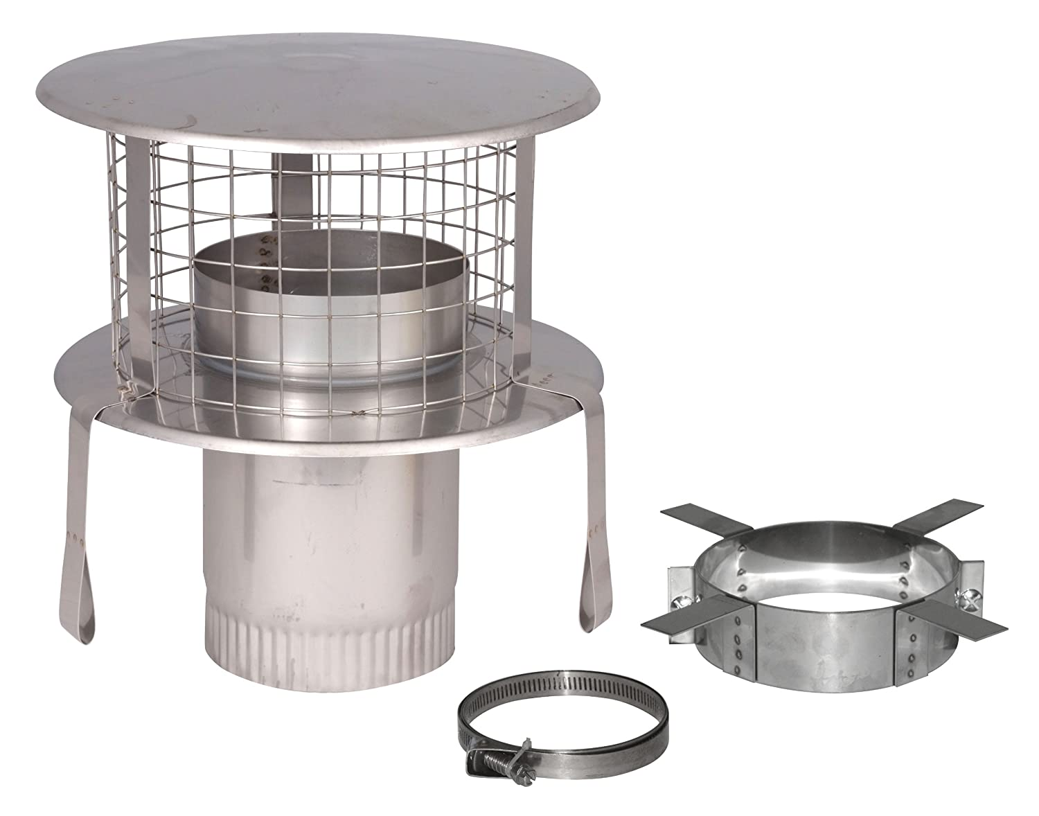 StoveMaestro 5 inch Pot Hanging Cowl with Bird Guard for Flexible Flue Liner.