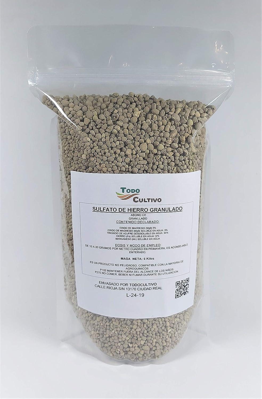 TODOCULTIVO Sulfato de Hierro granulado 5 Kilos. Abono de Fondo Utilizado para Tratar Las clorosis férricas o amarillamiento de Las Plantas.