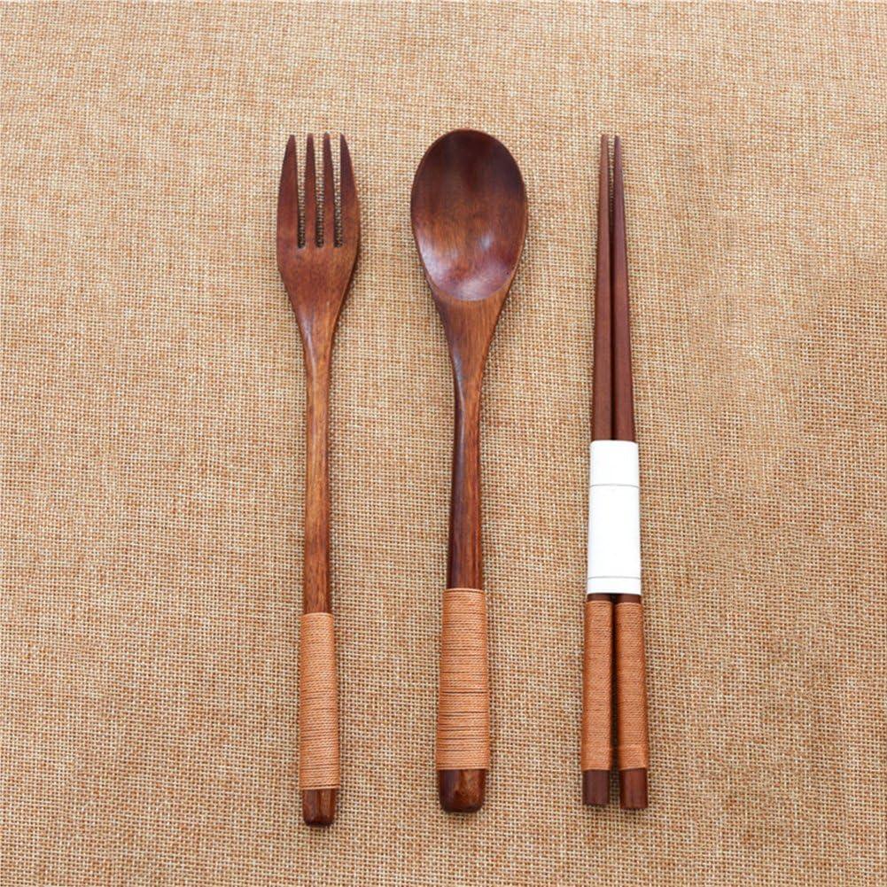 Holz Gabel L/öffel Gabel Besteck Geschirr Set tragbare Mittagessen Geschirr Set Khaki Waroomss Holz Besteck Set