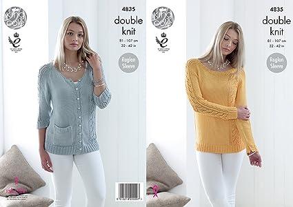 b0de1a80330d Amazon.com  King Cole Ladies Double Knitting Pattern Raglan Sleeve ...
