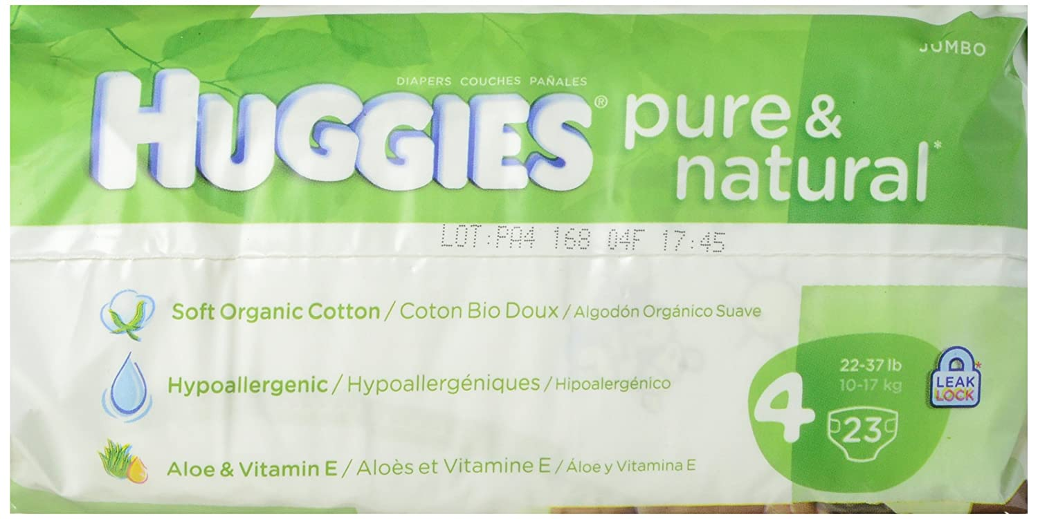Amazon.com: Huggies Pure and Natural Diapers, Size 4, 23 Count: Prime Pantry
