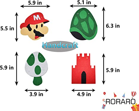 RORARO Mario Birthday Party Pack-Banner-Balloons Super Mario Bros Happy Birthday Banner Party Supplies Decorations Nintendo Birthday Party Decorations ...