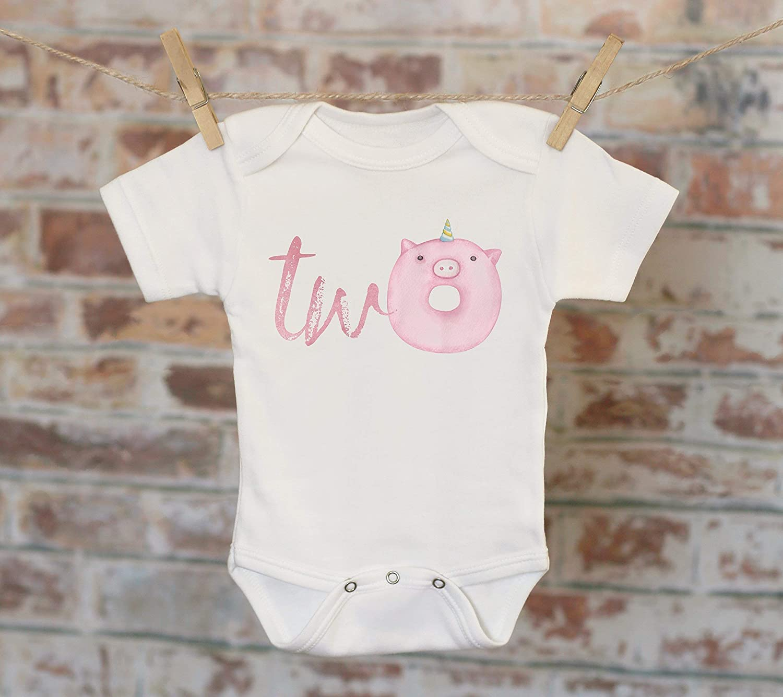 Two Unicorn Pink Pig Donut/T-Shirt, Second Birthday Shirt, 2nd Birthday, Customized Shirt, Boho Kids, Woodland Animals Shirt