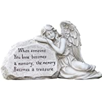 Napco 11293 Memory Becomes a Treasure Memorial Plaque with Sleeping Angel Garden Statue, 12.5 x 6.75""