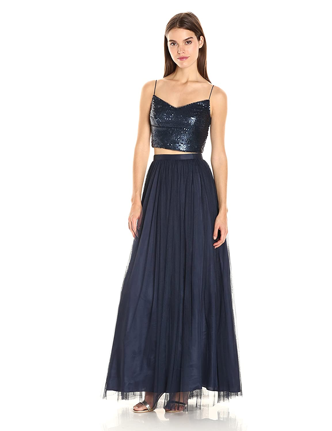75377197345 Adrianna Papell Women's Spaghetti Strap Sequin Crop Top with Tulle Skirt:  Amazon.in: Clothing & Accessories
