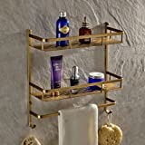 Antique Brass Wall Mount Solid Brass 2 Tiers Dual Rectangle Shower Caddy with Single Towel Bar Track and Double Towel Hooks Bathroom Shower Storage Cosmetic Holder Shelf Luxury