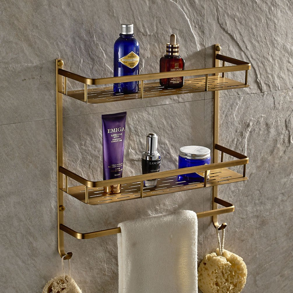 Antique Brass Wall Mount Solid Brass 2 Tiers Dual Rectangle Shower Caddy with Single Towel Bar Track and Double Towel Hooks Bathroom Shower Storage Cosmetic Holder Shelf Luxury by GUMA