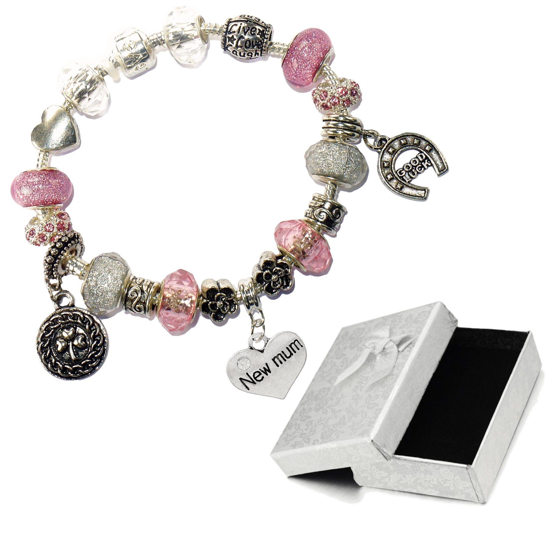 Charm Buddy New Mum Pink Silver Crystal Good Luck Pandora Style Bracelet With Charms Gift Box