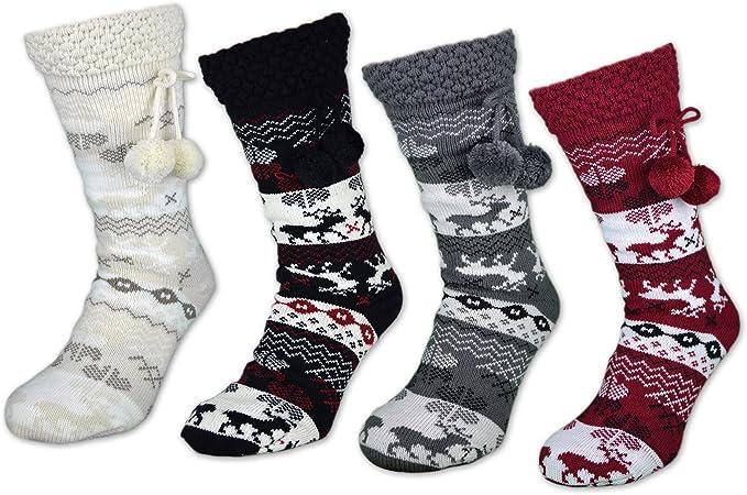 Kuschelsocken mit Noppen extrem warm gefüttert Home Socken Norwegermuster
