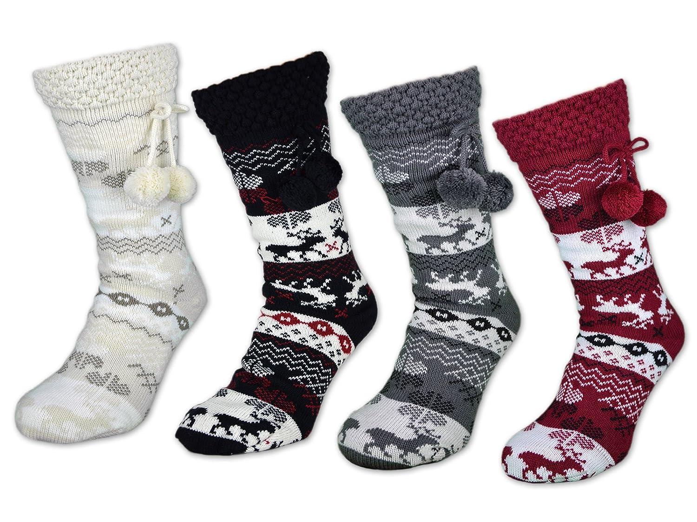 1-4 Damen Socken mit ABS Sohle Innenfell Extra dicke Haussocken Anti Rutsch Sohle - 71300
