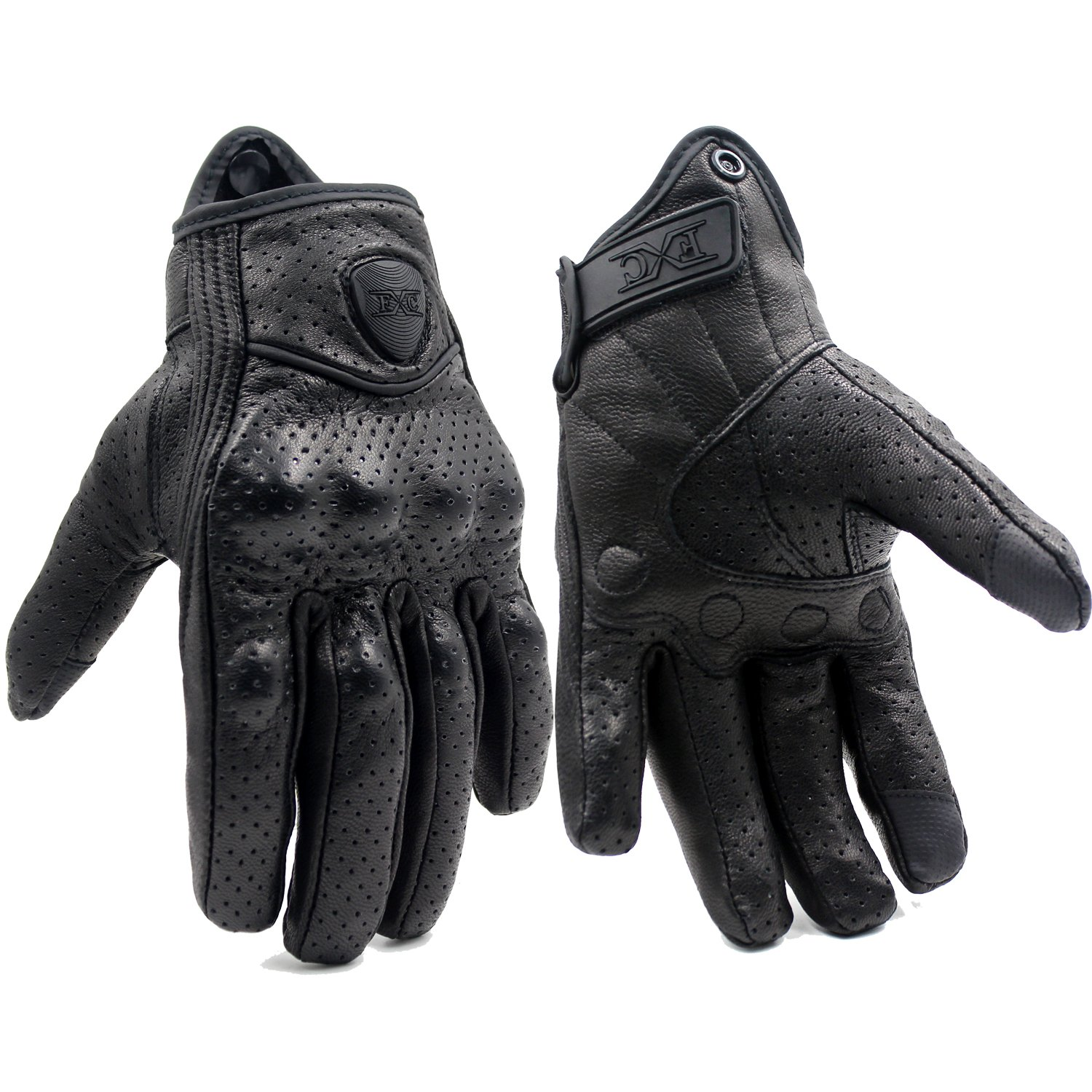 Buy leather motorcycle gloves - Fxc Full Finger Motorcycle Leather Gloves Men S Premium Protective Motorbike Gloves Xl Mesh