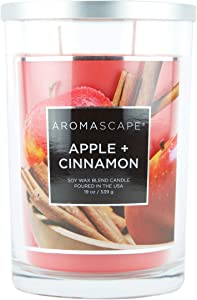 Aromascape 2-Wick Scented Jar Candle, Apple & Cinnamon, 19-Ounce, Red