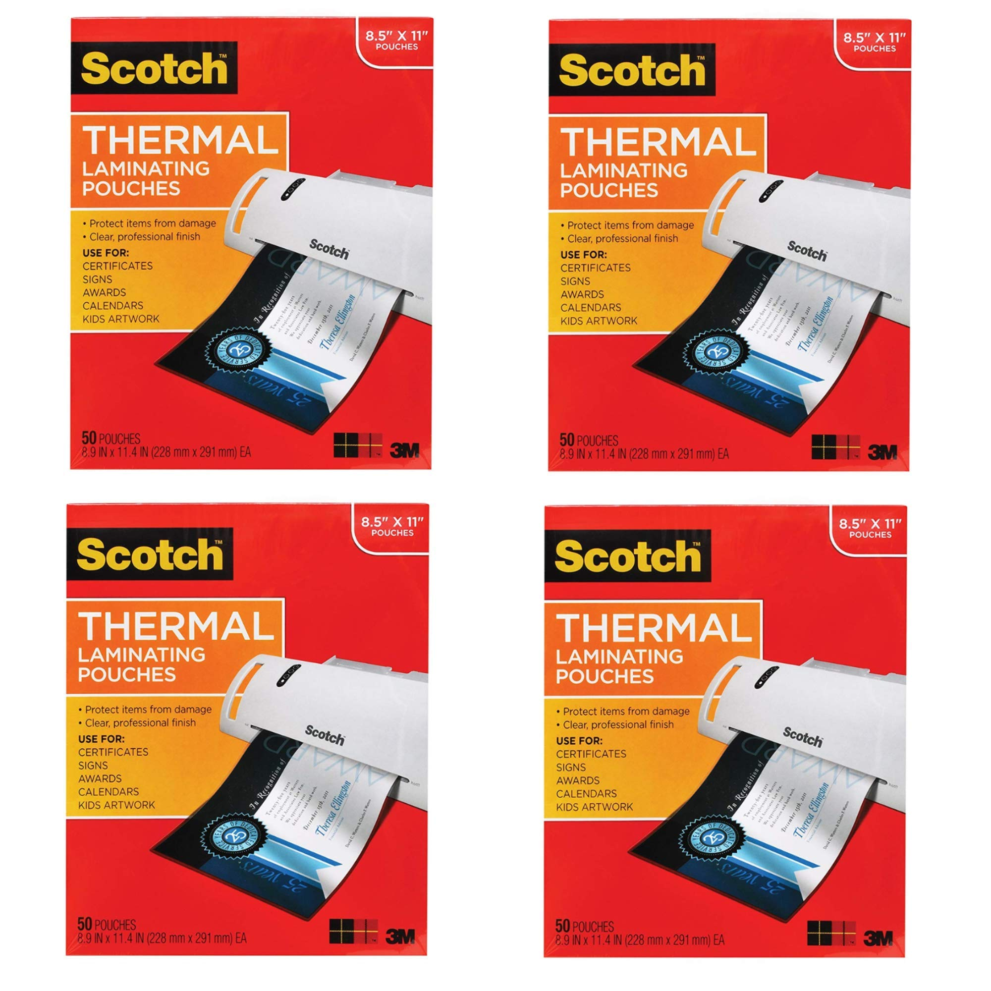 Scotch Thermal Laminating Pouches, 8.9 x 11.4-Inches, 3 mil Thick, 50-Pack (TP3854-50),Clear (4) by Scotch Brand