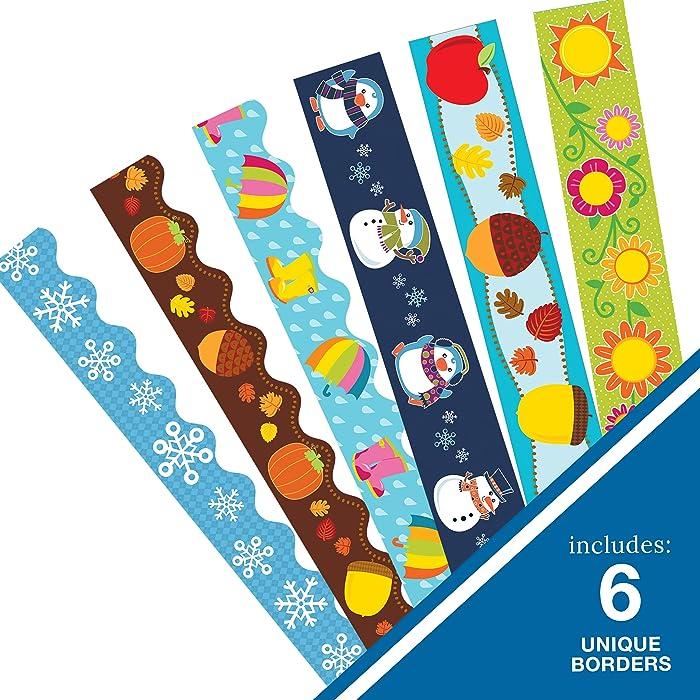 Carson Dellosa | Seasonal Decorative Borders Set | 3 Scalloped and 3 Straight Printed Borders, Set of 6