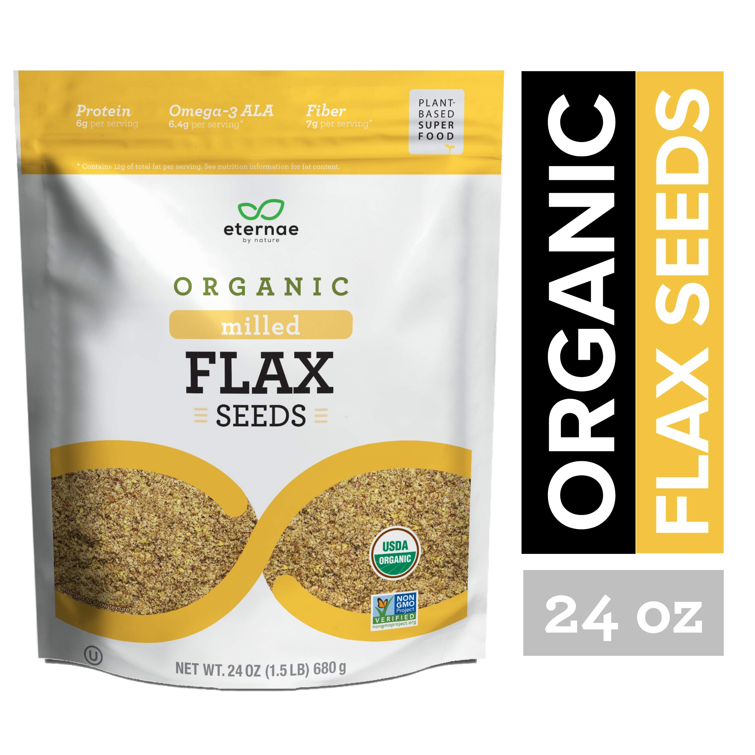 Eternae By Nature Organic Milled Flax Seeds, 24 Ounce