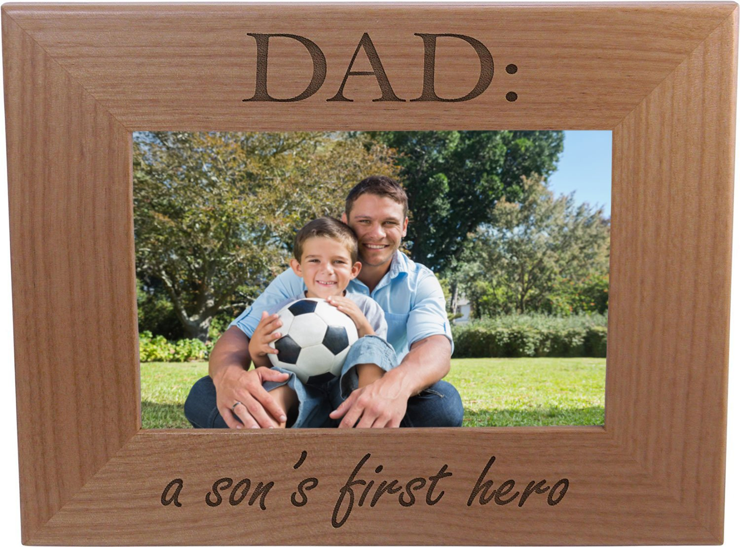 Amazon.com - Dad: A Son\'s First Hero - Wood Picture Frame Holds 4x6 ...