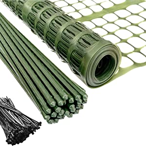 PeerBasics Patio Snow Garden Fencing, Lightweight Safety Netting, Recyclable Plastic Barrier Environmental Protection, Dark Green (with Stakes and Zip Ties, 2 x 50)