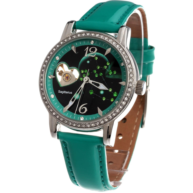 e0a5263d48bc Time100 W80089L.09AN Reloj mecánico de horóscopos Sagittarius para mujer de color  verde  Amazon.es  Relojes