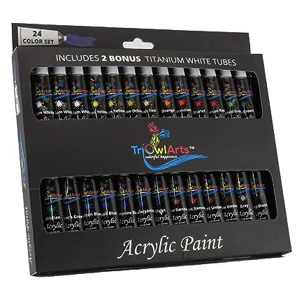 Triowlarts Artist Acrylic Paint Set 26 Piece 24 Color Paints Starter Kit With Bonus 2 Titanium White Tubes Professional Premium Non Toxic Artists