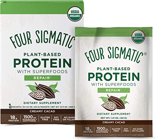Four Sigmatic Creamy Cacao Superfood Protein, Organic Plant-Based Protein with Chaga Mushroom Ashwagandha, Supports Immune Function Muscle Repair, Portable, 10 Count