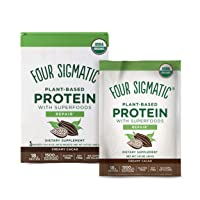 Four Sigmatic Creamy Cacao Superfood Protein, Organic Plant-Based Protein with Chaga Mushroom & Ashwagandha, Supports Immune Function & Muscle Repair, Portable, 10 Count