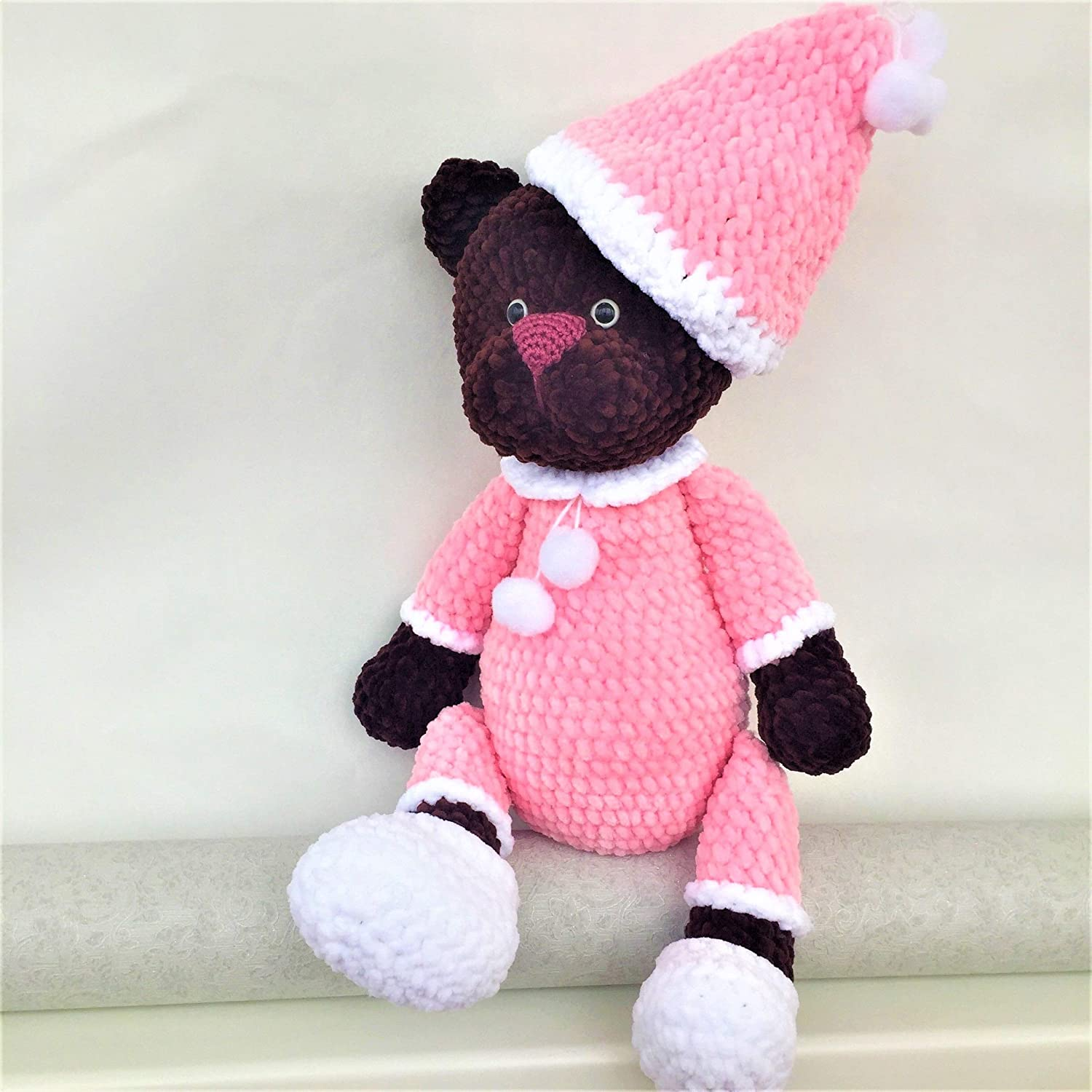 Knitted Toy Amigurumi Knitted Teddy Bear Handmade. Soft Teddy Bear in Pajamas Girl-bear as a Gift to the Child
