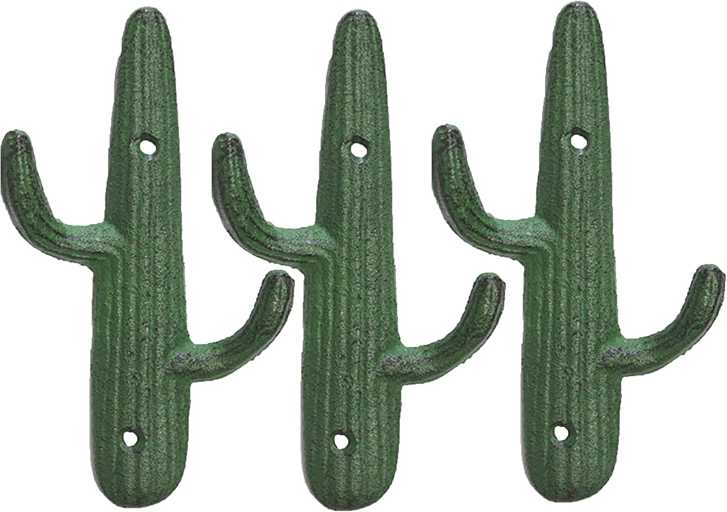 Set of 3 - Cast Iron Cactus Double Wall Hooks/Hangers - Decorative Wall Mounted Hooks for Coats, Bags, Towels and More - w/Screws and Anchors Included - Rustic Green Color