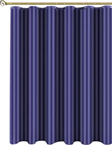 Biscaynebay Fabric Shower Curtain, Damask Stripes Waterproof Water Resistant Bathroom Curtain, 72 X72, Navy