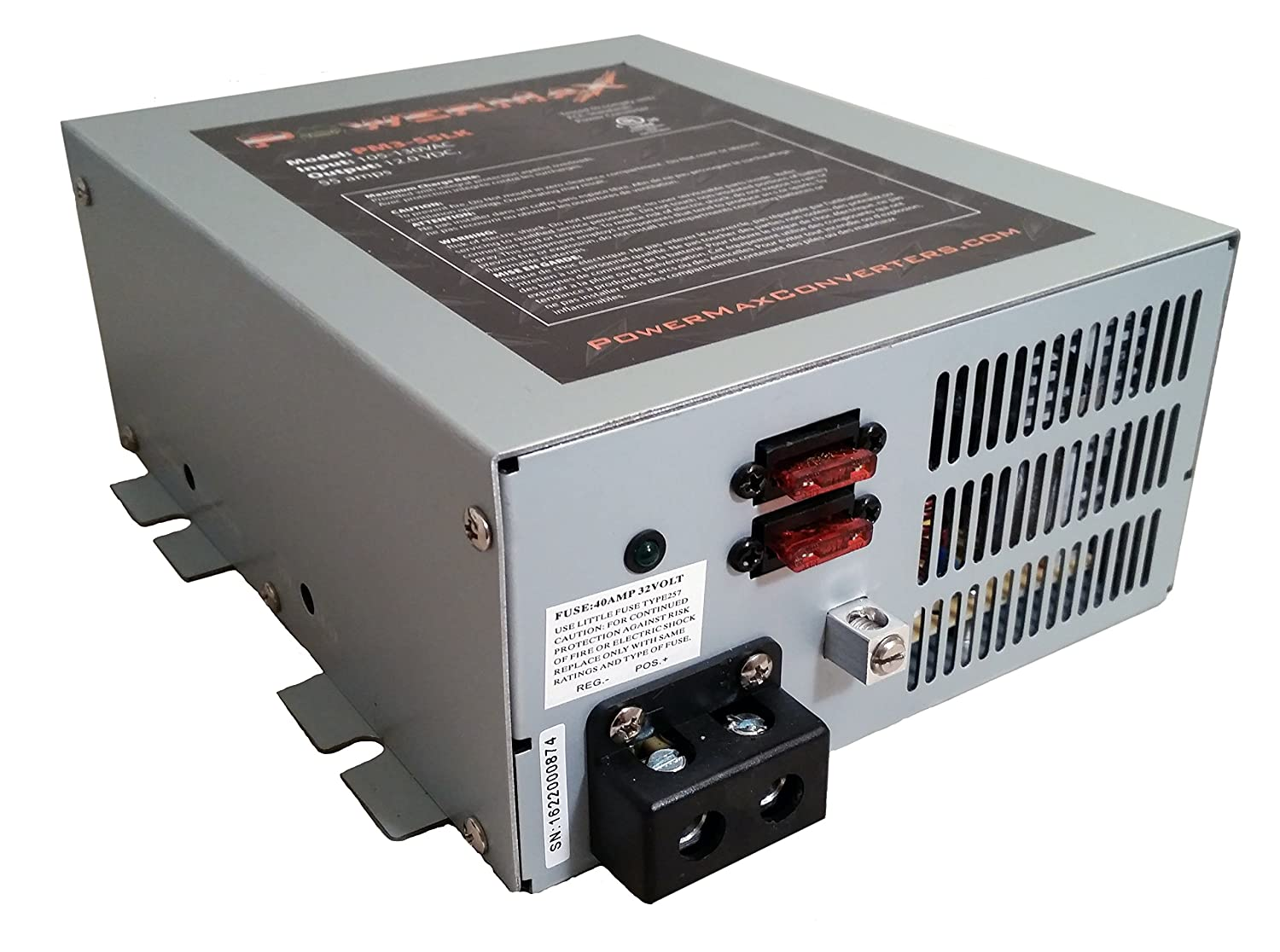 PowerMax PM4 60A 110V AC to 12V DC 60 Amp Power Converter with Built-In 4 Stage Smart Battery Charger