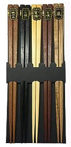 JapanBargain 3674, Wooden Chopsticks Reusable Japanese Chinese Korean Bamboo Chop Sticks Hair Sticks 5 Pair Gift Set Dishwasher Safe, 9 inch, Multi Color
