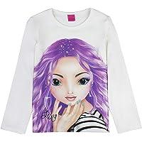 Top Model Niña T-Shirt, Manga Larga, Blanco