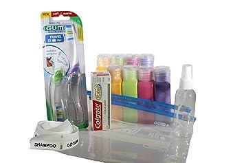 Paquete de viaje botellas y plegable, cepillo de dientes y pasta de dientes de viaje (15 unidades): Amazon.es: Electrónica