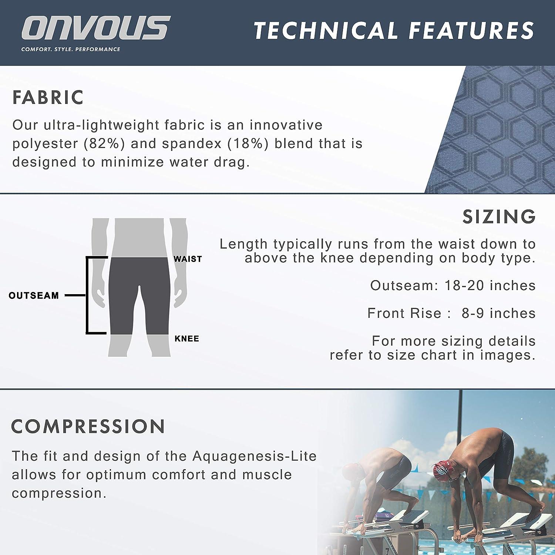 Comfortable Sizes: 28-38 Flexible Onvous Mens AquaGenesis-Lite Swim Jammer Fast Racing /& Training Swimsuit