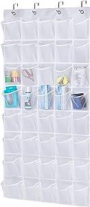 AOODA Over The Door Hanging Pantry Organizer 40 Mesh Pockets Kids Shoe Rack Hanger Holder for Closet, White