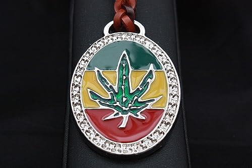 Llavero Cuero trenzado Bandera Rasta con hoja de Marihuana ...