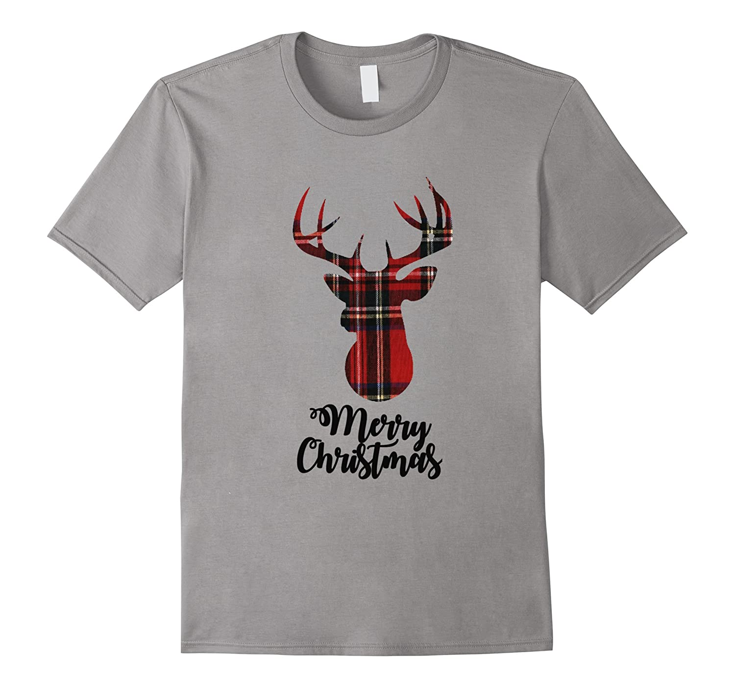 Christmas Deer Head Shirt Merry Christmas Plaid Tshirt-Art
