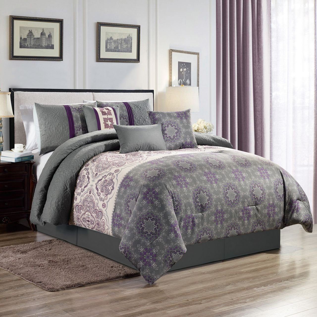 11 Piece Averil Purple/Gray Bed in a Bag Set Cal King