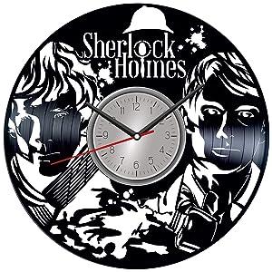 Sherlock Holmes Vinyl Wall Clock - Home Decor Him Her Birthday Christmas Anniversary - Themed Clock for Home Decor - Kids Living Room Kitchen Wall Art - 12 Inches