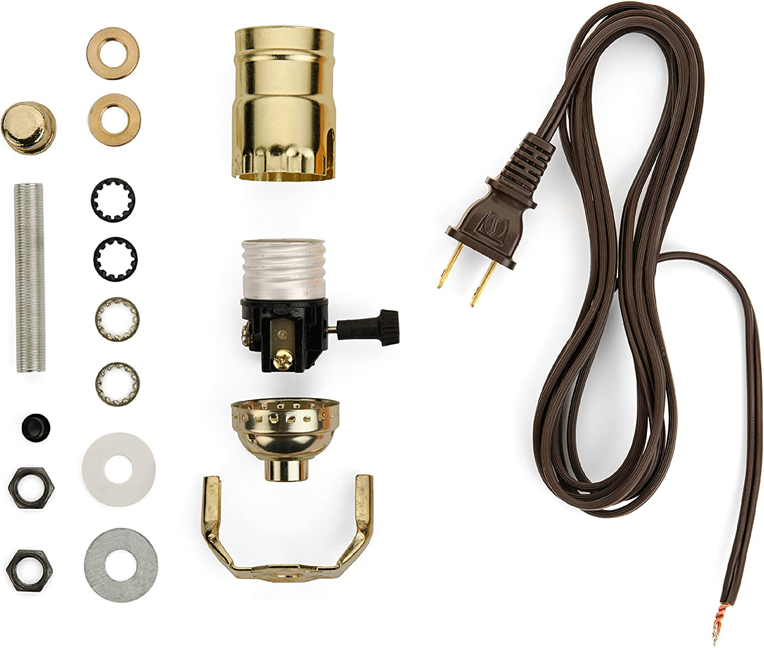 lamp-making kit - electrical wiring kit to make or refurbish lamps  (electrical lamp wiring kit with brass-plated socket and 12 feet brown wire  cord) - - amazon.com  amazon.com
