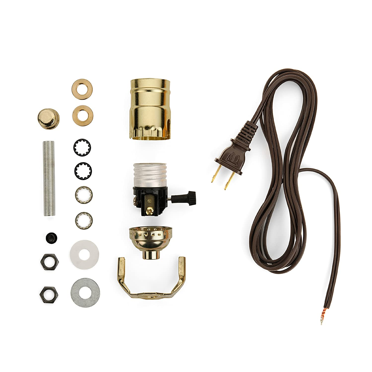 Lamp Making Kit Electrical Wiring To Make Or Refurbish Lamps Diy Chandelier Diagram With Brass Plated Socket And 12 Feet Brown Wire Cord